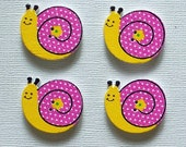8 Wooden Snail Buttons