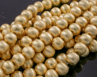 Brushed Gold Copper Beads, All sizes! 8 Inch Strand!  6mm, 8mm, 10mm, 12mm, 14mm, 16mm- Wholesale Bulk or Single
