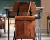 Bag computer. Leather backpack handmade.