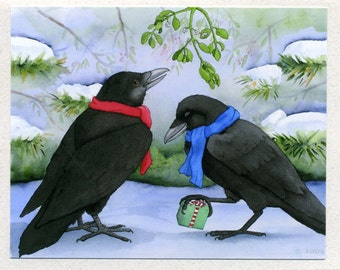 Under the Mistletoe (ravens) Christmas Card