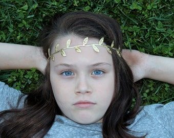 Gold Leaf Headband - Baby Gold Leaf Headband - Grecian Headband
