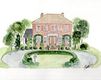 Custom Watercolor House illustrations