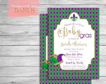 Mardi Gras invitation. Baby Shower. Mardi Gras Party invites. Green, Purple and Gold. Baby gras, masquerade party, gender neutral DIY