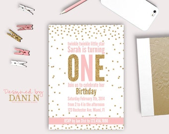 Twinkle twinkle birthday invitation, glitter birthday invite, printable party, twinkle twinkle little star party, girl  pink and gold