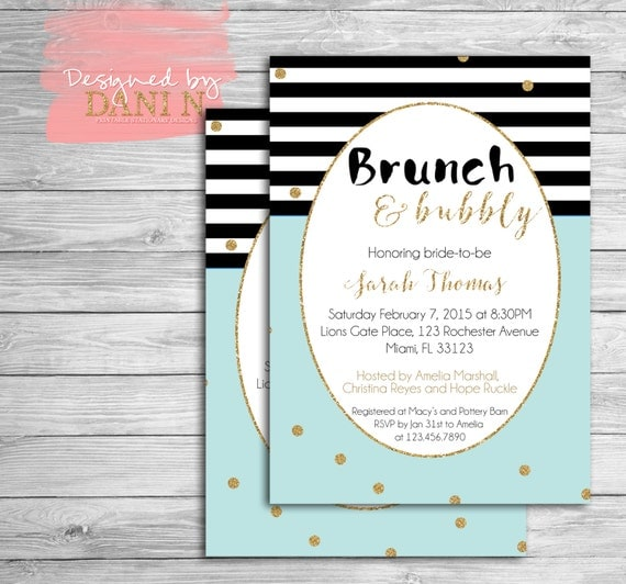 Bridal Shower party invitation bubbly brunch Mint cocktail brunch