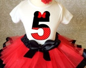 Fast Ship Birthday Red Black Minnie Mouse Inspired Ears Polka dots  5th Fifth Age 5 Shirt & Tutu Set Girl Outfit Party Dress 3t 4t 5t 5/6 7