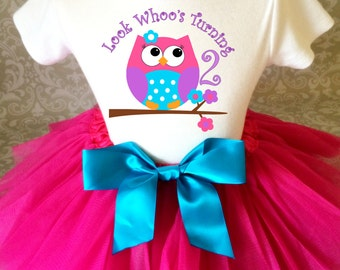 Fast Shipping - Pink Purple Cute Owl Look WhOO's Whos Who's Turning 2 2nd Two Second Shirt & Tutu Set Girl Outfit Party Toddler  2t 3t 4t