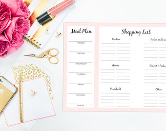 Meal Planner and Grocery List Notepad