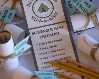 Camping Scavenger Hunt Printable - CAN BE CUSTOMIZED - Includes Scavenger Hunt and Tag - Fun Kids Activity