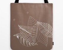 Nature Tote Bag Floral Leaves Fall Personalized Color 13x13 16x16 18x18 Women Birthday Gift Brown Her Leaf Beach Market Shopping Bag Cute