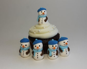 Fondant Winter Snowmen with blue scarves, 12 pack