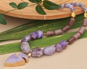 Purple arrow of Cupid -trendy design jewellery; amethyst, agate handmade beaded semiprecious gemstone chunky statement necklace, choker