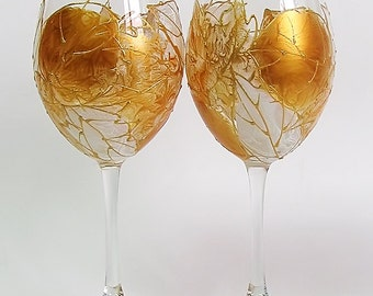 Set of 2 Hand Painted Wine Glasses- Autumn golden leaves, Wedding glasses, Birthday gift, Home decor, Gift for her, Mother's day gift,Floral
