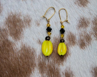 Glass Banana Earrings