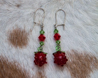 Glass Raspberry Earrings