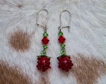 Glass Raspberry Earrings