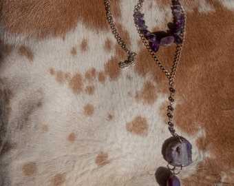 Long Amethyst Agate, Geode and Stone Necklace