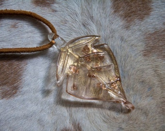 Glass Clear and Gold Autumn Leaf Pendant Necklace