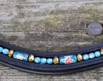 Madeline: Dressage browband for horses with ceramic floral tube beads and czech glass in blue, pink, gold, and white