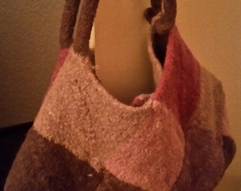 Knitted felted shoulder bag