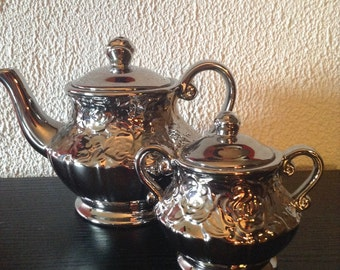 Mercury Rose Finish Play Tea Pot Service Set. Play Tea Party Supplies Wedding Decor Sale Coupon Code 10PERCENTOFF