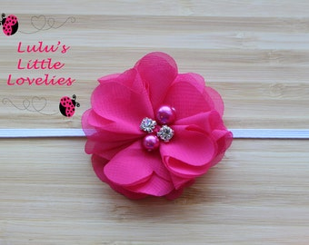 Pink Purple Flowers with Pearl & Rhinestone Headband you choose color and attachment for Newborn - Adult Photoshoot Valentines  RTS