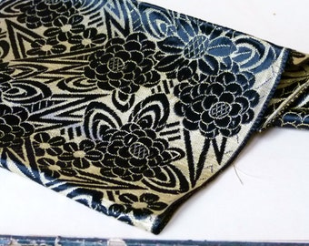 Antique haute couture art deco french jacquard large silk ribbon fabric, black & gold, brocade, vintage, downton abbey, collector