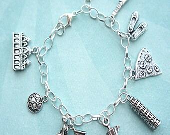 everything italian charm bracelet-italy charm bracelet, tibetan silver charm bracelet