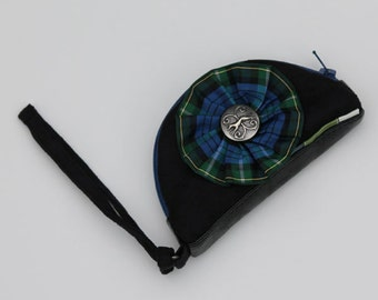 Black Change Purse, Coin Purse, Plaid Rosette and Greyhound Button (Flittermouse)