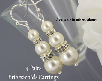 4 Pairs Swarovski Pearl Earring, Dangle Earrings, Bridesmaids Gifts, Bridesmaids Earrings, Wedding Jewelry, Gift Idea, Gift for Her