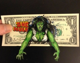 She Hulk painted on a dollar