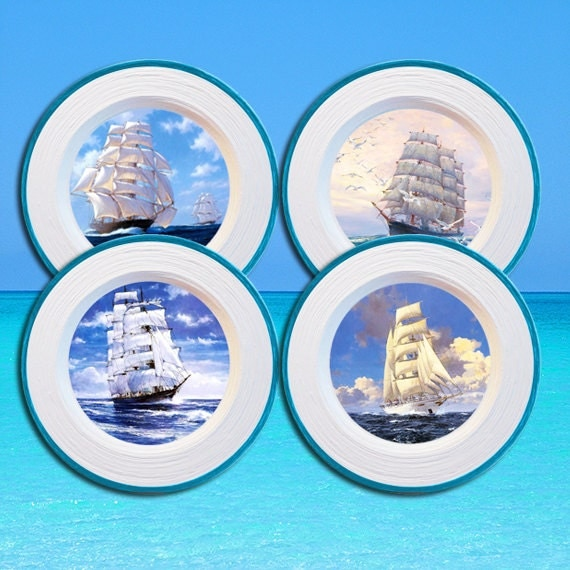 Home Decor 4 Plates Set Sailboats Wall By PaperPlateArt