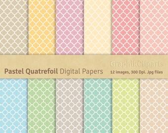 Pastel Quatrefoil Digital Papers. Quatrefoil, Moroccan, Pastel colors. Scrapbooking Paper. 12 images, 300 Dpi. Jpg files. Instant Download