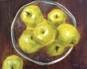 Green Apples Oil Painting, still life by Velma Serrano