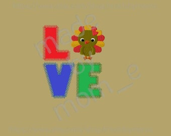 L O V E Thanksgiving Turkey Applique