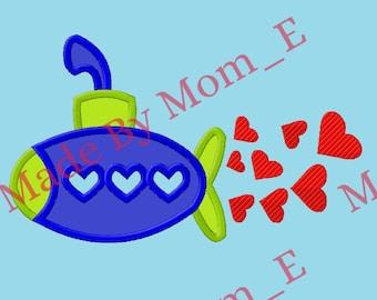 Valentines - Heart Submarine Applique