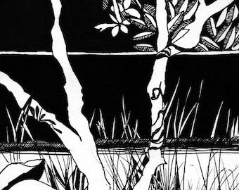 Black and White Plant Ink Illustration #5