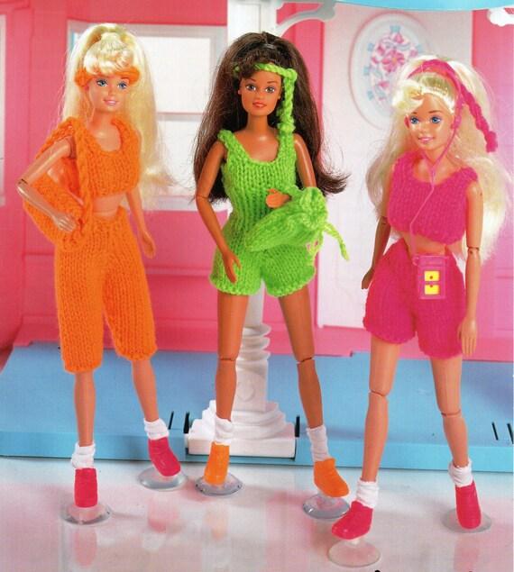 Teenage dolls Knitting Pattern PDF Barbie keep fit outfits