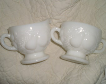 Vintage Milk Glass Creamer & Sugar Set