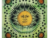 Sun And Moon Tapestry,Indian Cotton Tapestry,Full Size Sheets Wall Hanging,Hippie Tapestries Wall Decor,dorm room Beach Blanket TP1144B