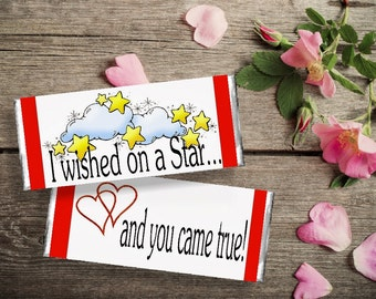 Wished on a Star Valentine Candy Bar Wrapper Printable