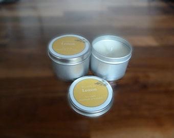 Lemon soy wax candle tin