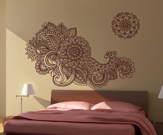 henna wall sticker indian artwork home decor. Black Bedroom Furniture Sets. Home Design Ideas