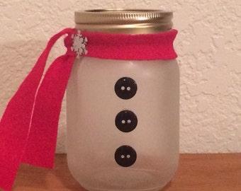 Frosted Christmas mason jar Quart size