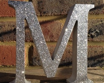 Glitter Silver Letters, Silver Wooden Letters, Freestanding/Standalone Silver Letters, Personalised Glitter Letters