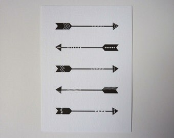 Arrows - postcard black white blank illustrated