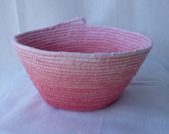 Rope bowl large round, fabric covered
