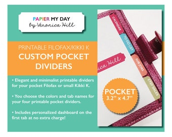Printable Custom Filofax Dividers - Custom Kikki K Dividers - Pocket / Small Size