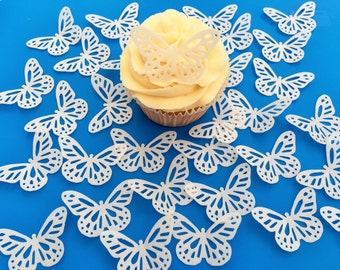 32 Edible White Butterfly Wafer Cupcake Toppers Precut