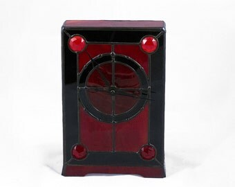 Stained glass desk top clock.